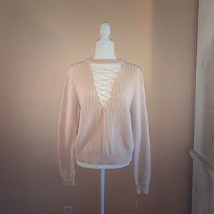 Sophie Rue Lace Up Cotton Sweater - Off White